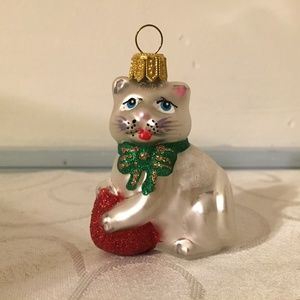 Impuls Mouth-Blown Glass Cat Ornament Poland